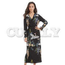 CUERLY flower crane pattern maxi wrap dress v neck retro sashes bow tie long sleeve vintage bird chic long loose casual Vestidos plus crane bird print fluted sleeve dress