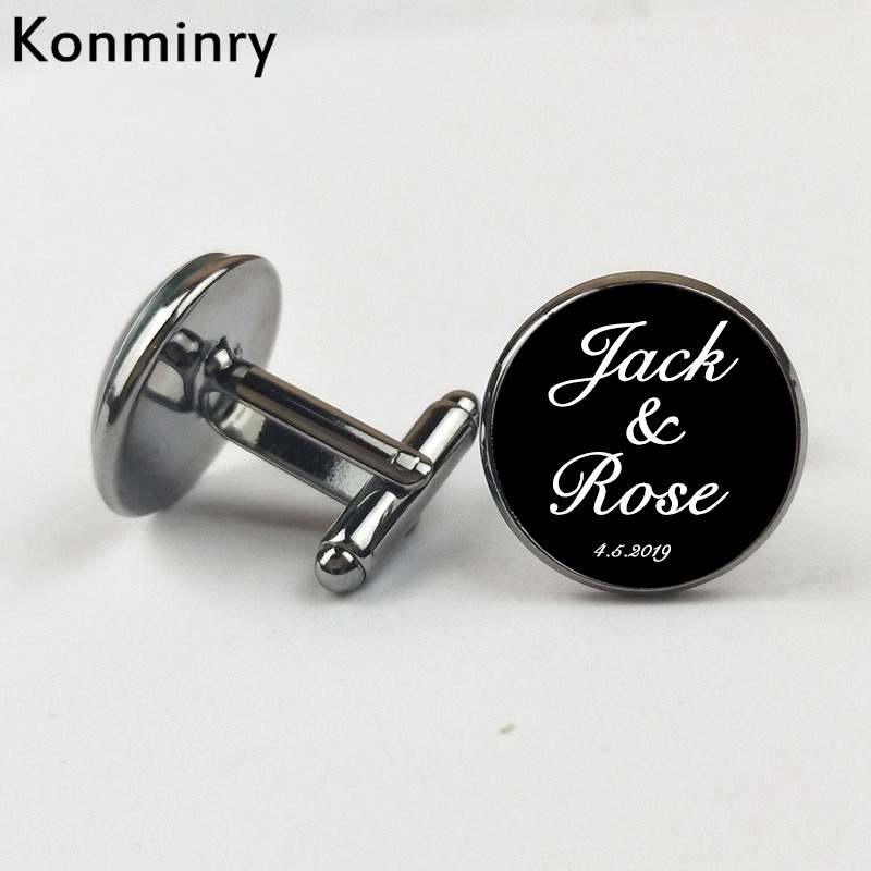 Custom Name Date Personalized Cufflinks Wedding Jewelry Quality Customize Logo Word Text 1 Pairs Men Cufflinks Glass Dome Gift(China)
