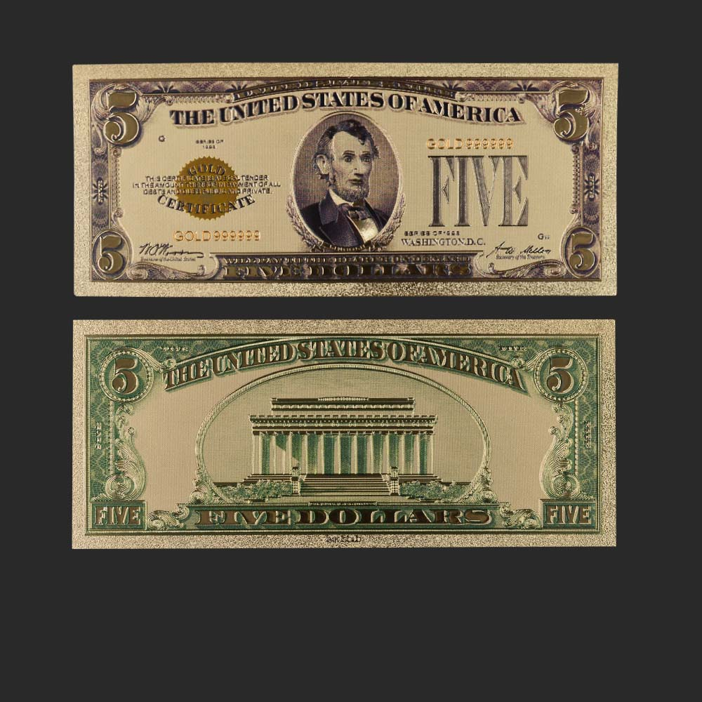 1928 Year Colorful USA Banknotes <font><b>5</b></font> <font><b>Dollar</b></font> <font><b>Bills</b></font> Bank Note In 24K Gold Plated Fake Currency Money for Gifts Free Shipping image
