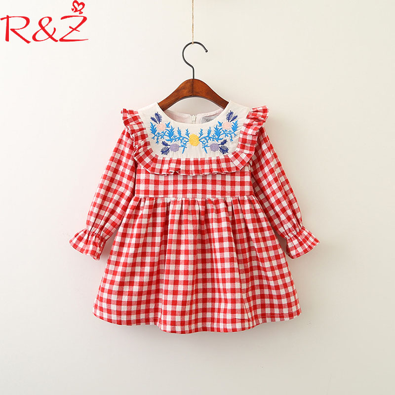 R&Z Baby Girls Dresses 2018 New Spring Embroidered Stitching Doll Collar Lattice Princess Dress for Kids Children's Clothing k1