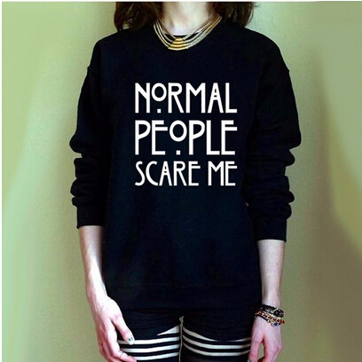 YEMUSEED H1026 NORMAL PEOPLE SCARE ME 2016 New Letters Print Funny Harajuku Tracksuit For Women Sweatshirt Hoodies 7
