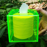 Top Grade Acrylic Tissue Box Square Multicolor European Home Gift Waterproof Simple 126X126X120MM