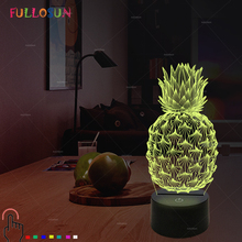 Pineapple Night Light LED 7 Color 3D Optical Illusion Lamp for Bedroom Desk Lamps