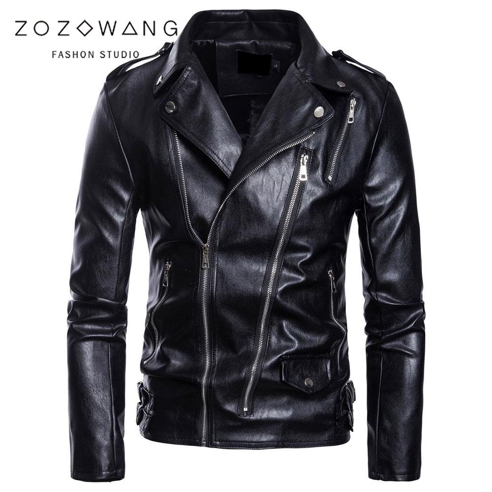 Grande taille 5XL hommes top décontracté en cuir vêtements zipper ceinture décorer automne et hiver manteau Zipper bracelet en cuir veste