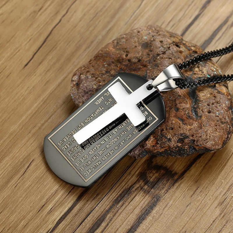 Modyle Multi Warna Alkitab Anjing: Cross Liontin untuk Kalung Stainless Steel Iman Kristus Doa Aksesoris