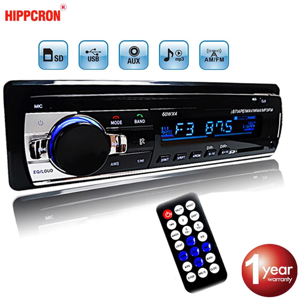 Hippcron автомобильный радиоприемник, стерео MP3-плеер, цифровой Bluetooth 60Wx4 FM Аудио USB / SD с входом AUX