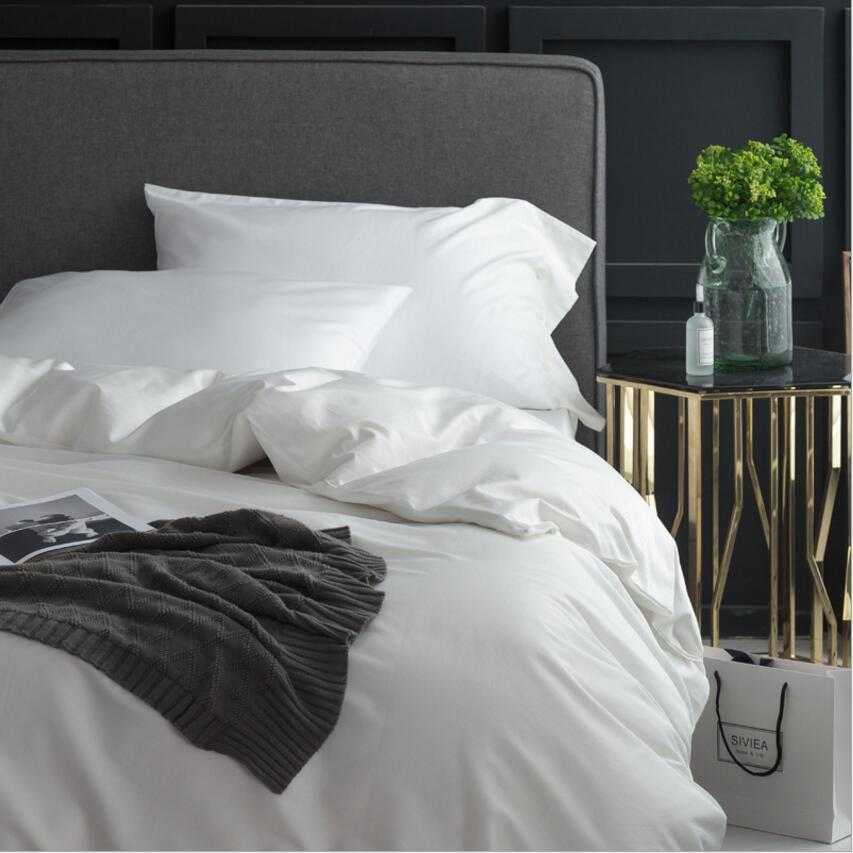 Einfarbig Bettwäsche sets Luxus Ägyptischer baumwolle Bettdecke abdeckung König Königin größe 4Pcs Bettwäsche bettlaken Leinen Kissenbezüge-in Bettwäsche-Sets aus Heim und Garten bei  Gruppe 2