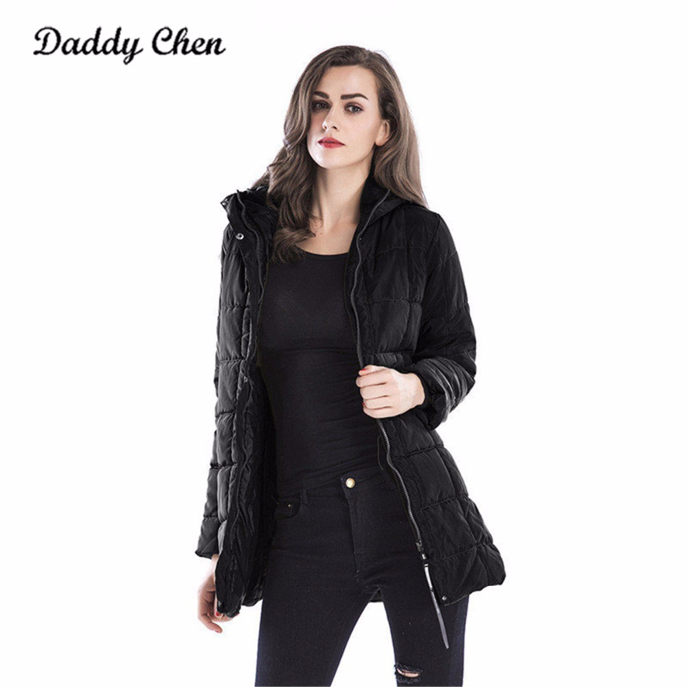 Daddy Chen 2018 Women Winter Hooded Warm Coat Cotton Padded Jacket Female Parka Womens Wadded Jaqueta Feminina Black Outwear