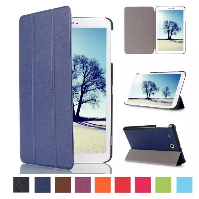 For Samsung Galaxy Tab E 8.0 T377 T377V SM-T377 Pu Leather Smart Stand Case Cover with Auto Sleep/Wake Feature+stylus