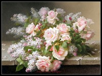 Needlework for embroidery DIY DMC High Quality Counted Cross Stitch Kits 14 ct Oil painting Lilacs and Roses II