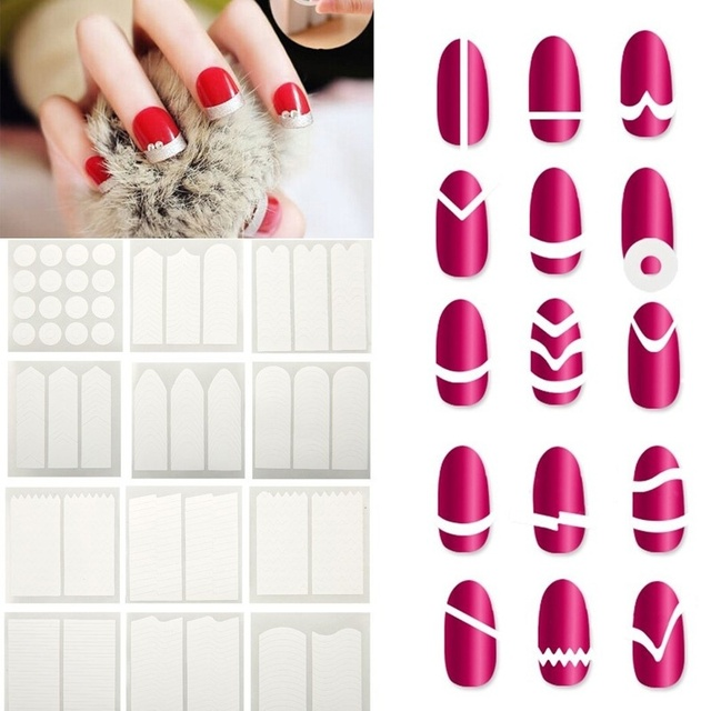 15 Styles Pack Nail Art Decals White French Manicure Guide Tips Stickers Stencil Beauty