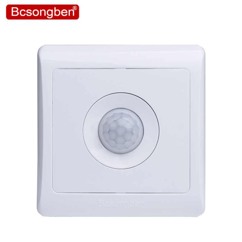 Bcsongben Новое поступление 220 в 86 настенный умный дом светодиодный инфракрасный контроль энергосберегающие лампы с датчиком движения выключатель света