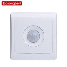 Bcsongben lâmpadas led com sensor de movimento, recém chegadas, 220v 86, parede, casa inteligente, controle infravermelho, luzes de atraso, economia de energia interruptor de luz