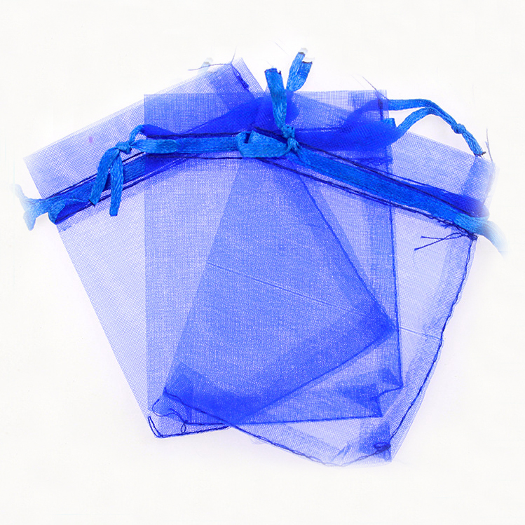 1116cm 20pcs blue gift bags for jewelryweddingchristmasbirthday yarn bag with handles packaging organza bags