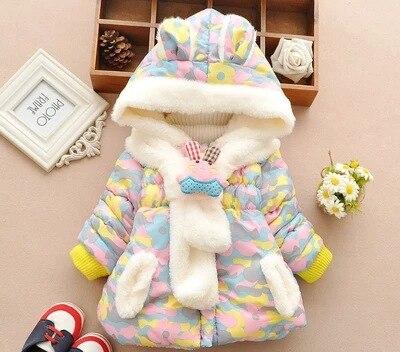 Kızlar rahat joker pamuk dolgulu giysiler 2016 kış yeni kız kamuflaj baskılı aşağı ceket kız ceket + eşarp 2 ADET suit