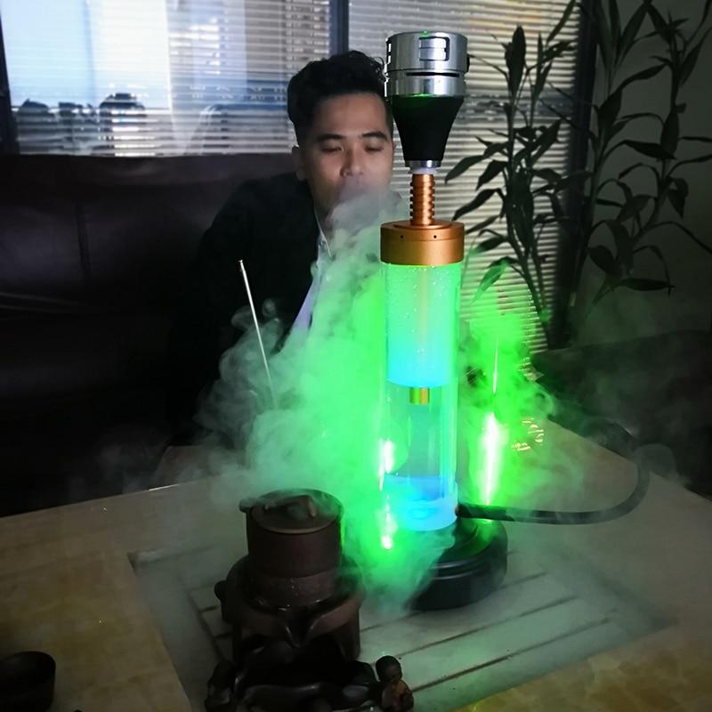 Aluminum Hookah Shisha Top Hookah Stem Kit Rechargeable Battery Hookah With Laser Light Shisha