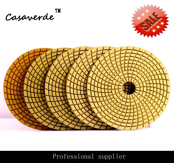 3pcs/carton 125mm Flexible Wet 5 Inch Diamond Polishing Pads With 3.0mm For Wet  Polishing Stone