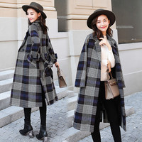 2019 New Winter Women's Long section Cocoon loose thick high end houndstooth Wool Coat Winter Women Jackets With Belt X220