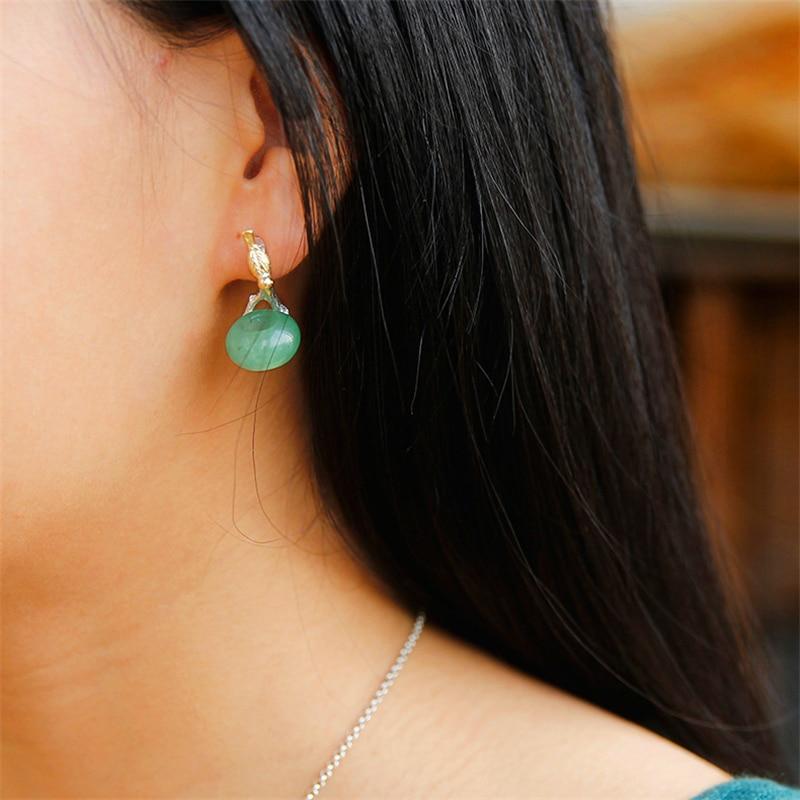 Lotus Fun 925 boucles d'oreilles en argent Sterling pour femmes pierre naturelle ronde verte Aventurine Animal oiseau fait main bijoux cadeaux - 2
