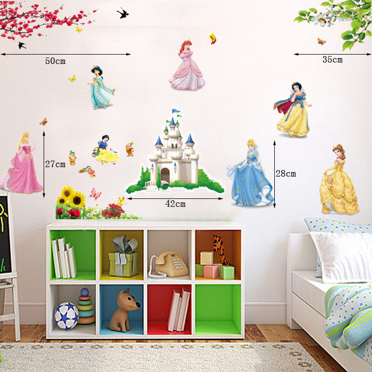 New Fairy Tale Cartoon Wall Stickers,DIY Princess Castle Removable Vinyl  Wall Decals For Kids ... Part 65