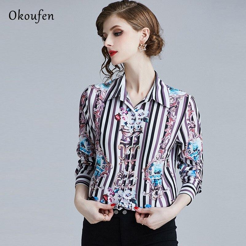 d64eb26c796 Okoufen новые женские весеннее платье в 2019 Повседневное мода нагрудные  розовый классические печатные рубашка с длинными