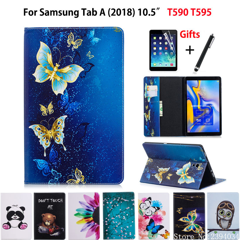 Case For Samsung Galaxy Tab A A2 2018 10.5 inch T590 T595 T597 SM-T590 Cover Funda Tablet Fashion painted Stand Shell +Film+Pen case for samsung galaxy tab a a2 10 5 2018 sm t590 t595 t597 detachable wifi bluetooth keyboard leather cover funda pen holder
