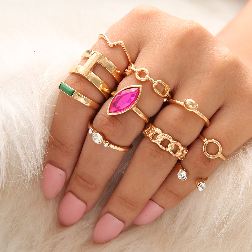 5 Pcs/set Green Red Stone Rings Set For Women Gold Wave Crystal Boho Midi Knuckle Rings Bohemian Fashion Jewelry Anillos Mujer Pretty And Colorful