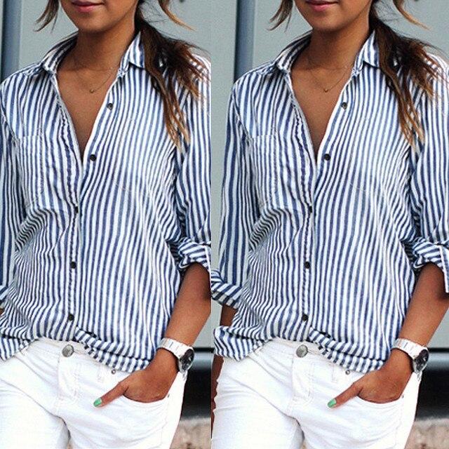 Для женщин блузка плюс размер 2018 Лето Для женщин топы пикантные повседневные свободные вертикальные полоски блуза с длинным рукавом рубашка женская блузка Vestido