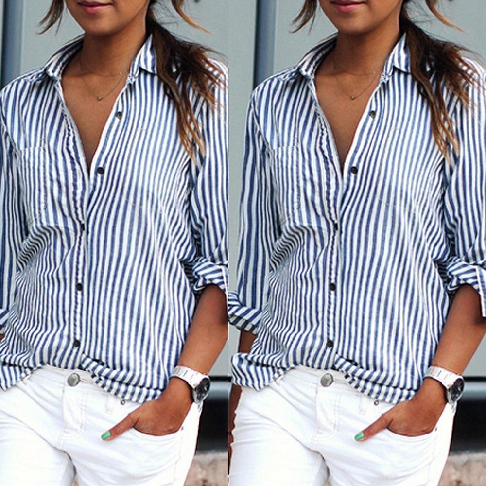 Women   Blouse   Summer Women Tops casual loose vertical long sleeve stripes   blouse     shirt   blusa feminina plus size women Blusa