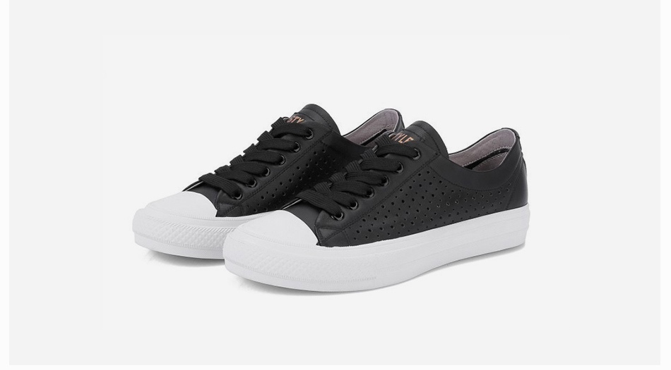 Donna-in 2019 New Women Flats Sneakers Genuine Leather Shoes Lace-up Cut-outs Flat Casual Women Shoes Hollow Summer Black White (22)