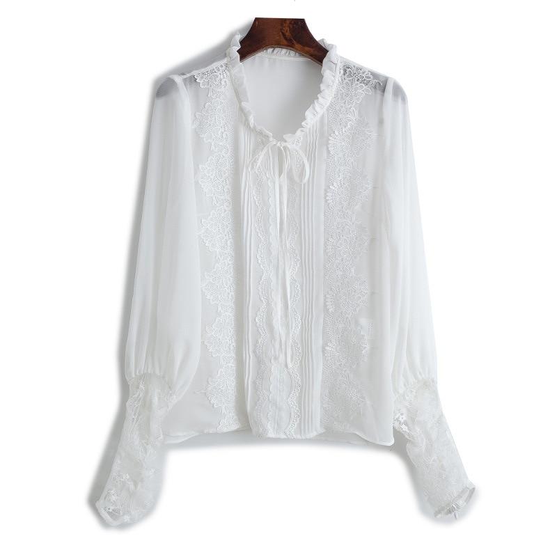 Originale Noir Femmes Nouveau Manches Blouse Printemps Dentelle 2018 Shirts Blanc Patchwork Europe Boutique Chemise De SYgEOxwxq
