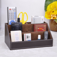5 grid wooden leather desk pen pencil holder stationery organizer table desktop accessories case desk set 203B