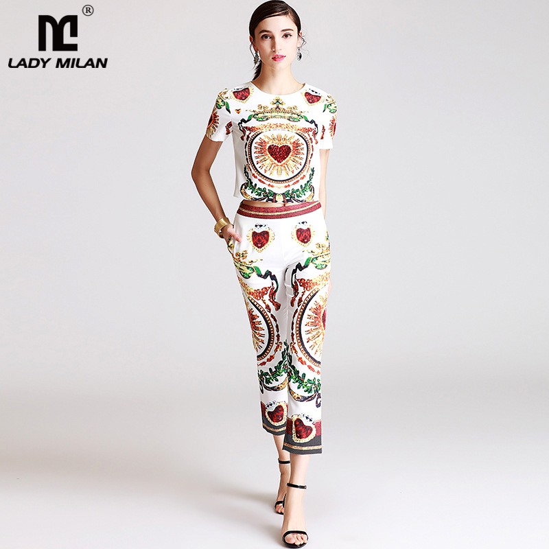 New Arrival 2018 Womens O Neck Short Sleeves Printed Sequined T Shirt Blouse with Vintage Pants Fashion Two Piece Pants Sets