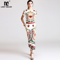 New Arrival 2018 Women's O Neck Short Sleeves Printed Sequined T Shirt Blouse with Vintage Pants Fashion Two Piece Pants Sets