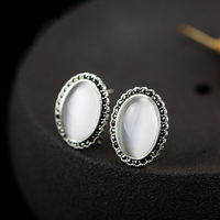 High quality Vintage 925 Sterling Silver Earrings oval White Opal women jewelry Bohemia Earrings fashion simple big lovers gift