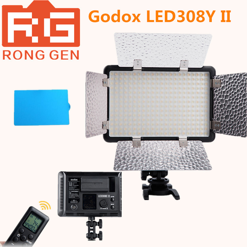 NEW Godox LED308Y II Yellow Light 3300K LED Video Light Lamp for DV Camcorder Camera + Remote godox led 308y 308 leds professional led video 3300k light with remote control for canon nikon camera dv camcorder