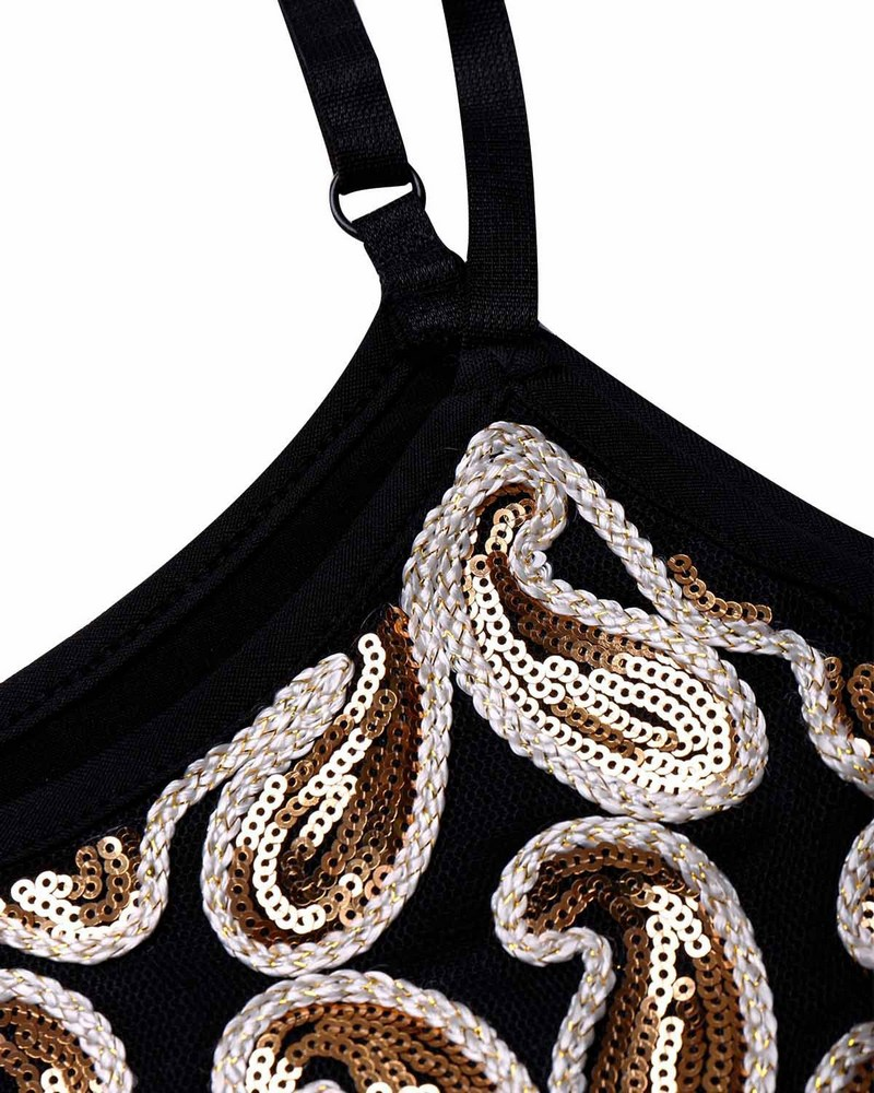 2019 New Fashion Sexy Women V tassel Solid Sequined Glitter Black Gold Mini Dress Shining Club Mini Dress For Female in Dresses from Women 39 s Clothing