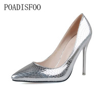 POADISFOO 2018 Women Pumps Pointed Metal Snake Pattern Thin High Nightclub Shoes Shallow Mouth Shoes For