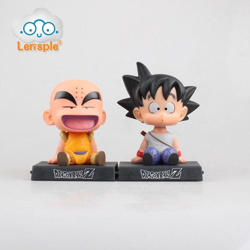 Lensple 12cm Anime Dragon Ball super Z Goku Krillin Car Holder Decoration Shaking His Head Doll Phone Bracket Action Figure Toy