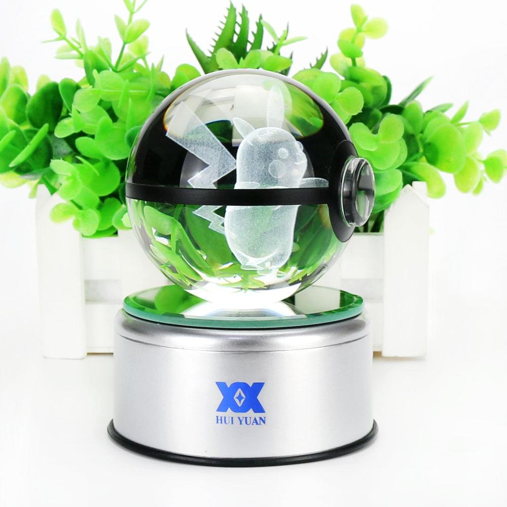 Mega Charizard X 3D Kristal Top Pokemon Cam Top LED Renkli Rotasyon - Gece Lambası - Fotoğraf 5