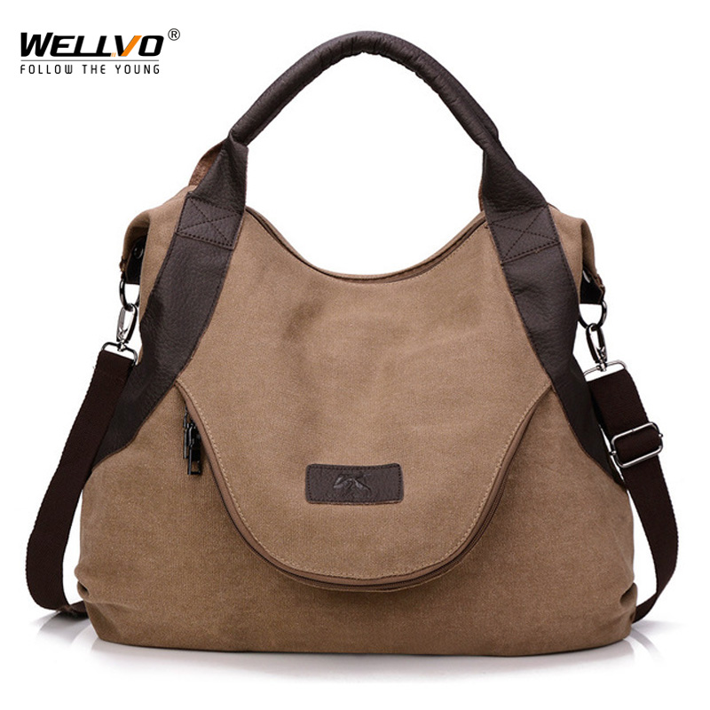 Wellvo Women Canvas Handbag Large Tote Casual Shopping Handbags Shoulder Bag Girls Brown Crossbody Bags bolso sac a main XA1606C bao bao fashion fresh floral girls shoulder bags female handbag canvas small crossbody bag for women sac a main bolsas b086