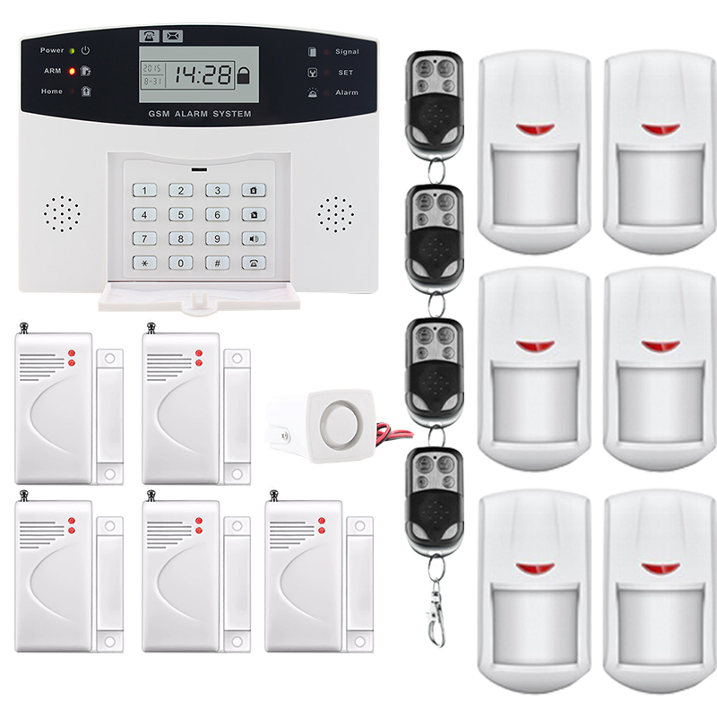 Saful LCD Display Wireless GSM &Home Security Alarm System SMS and Smoke Sensor Russian/English/Spanish/French voice russian french spanish voice quad band gsm home security alarm system gsm sms intercom lcd display with door security sensor