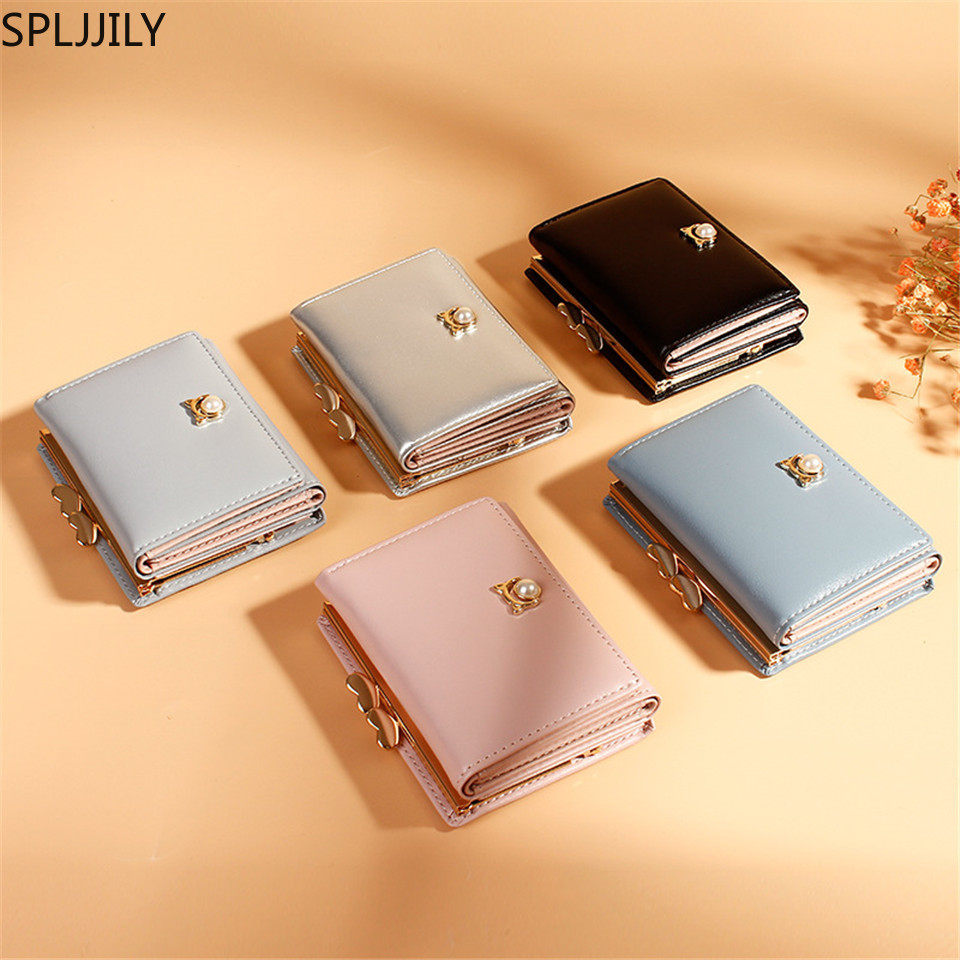 SPLJJILY Small Short PU Wallet For Women Multi-function Fashion Three-fold Pearl Coin Purse For Girls(China)