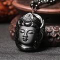 High quality natural stone obsidian pendant pendulum Goddess of mercy pendants Green twine chakra pendule suspension
