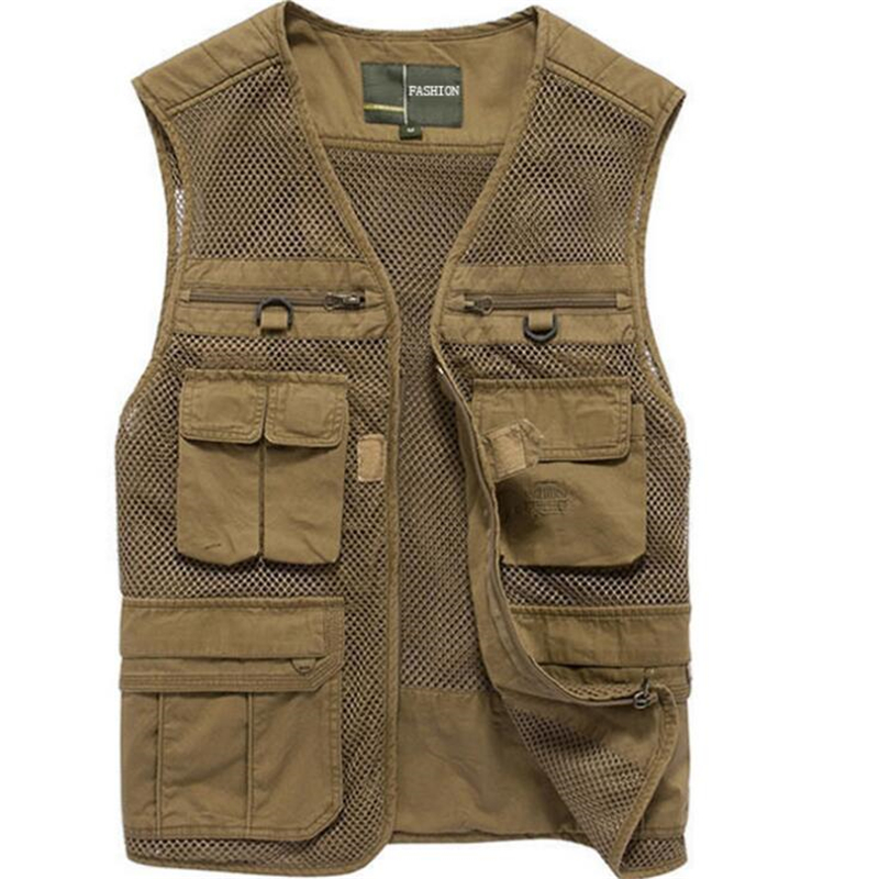 Spring Autumn Cotton Mesh Men vest Multi Many Pocket Photography Vest Plus Size Working Waistcoat Sleeveless Jacket Men L 4XL-in Vests & Waistcoats from Men's Clothing    1