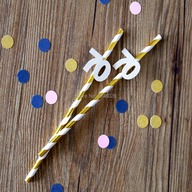 70th Birthday Straws Seventieth Anniversary Party Decorations 70 Gold And Silver Seventy