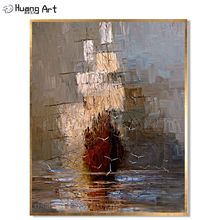 Handmade Calligraphy Modern Abstract Wall Art Picture Handpainted the Boat in Sea Sailling Oil Painting on Canvas Decoartive