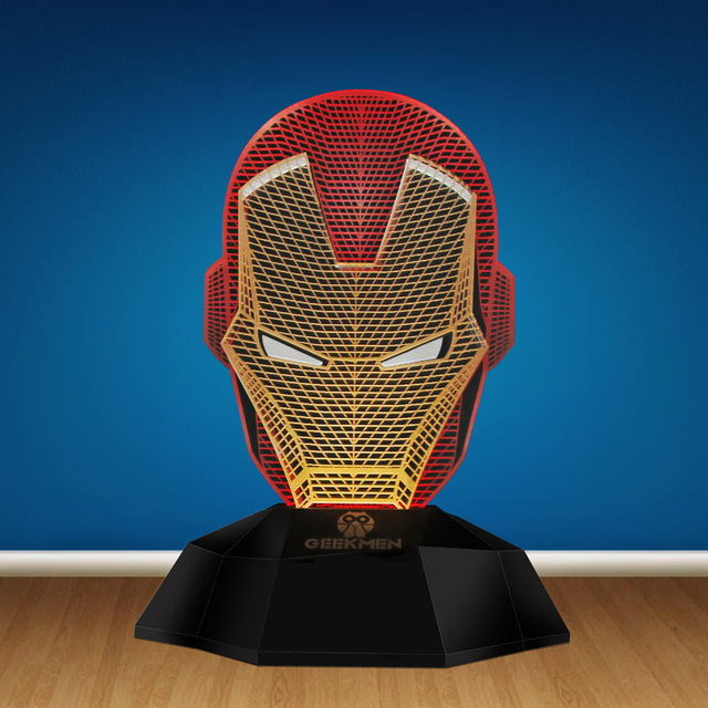Super Hero Iron Man 3D Line Lamp Led Light Optical Illusion Lamp Lamp Tony Stark Helmet Head Design Table Decor Novelty Lights