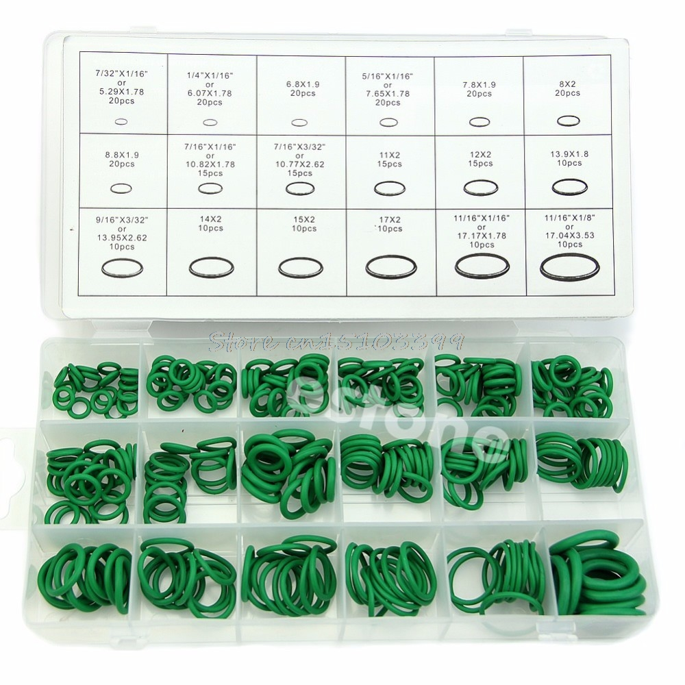 270pcs /set 18 Sizes Rubber O Ring Washer Seals Watertightness Assortment Kit O-Ring 18 Different Size With Plastic Case Green 300pcs red silicon o ring seal kit 15 different sizes o ring gasket set vmq o ring assortment set with plastic case