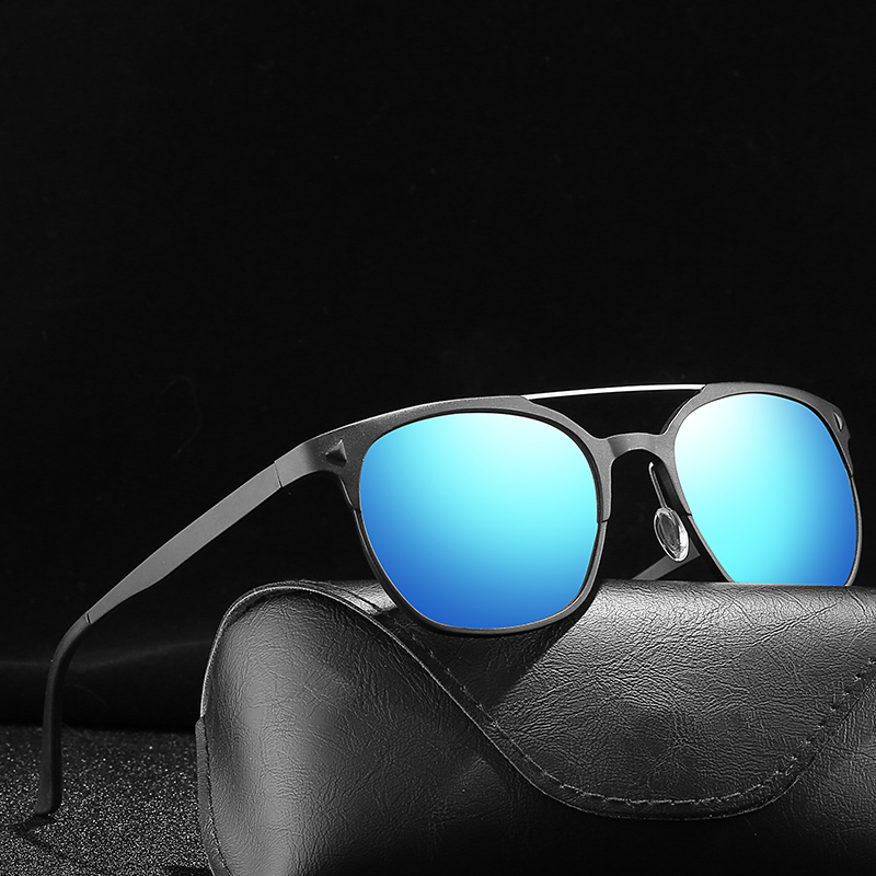 Blue Mirror UV400 Women Sunglasses Metal Frame Polarized Lady Glasses Size 54 20 143mm
